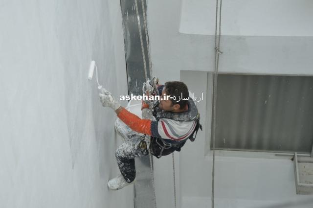 رنگ آمیزی نمای ساختمان با طناب